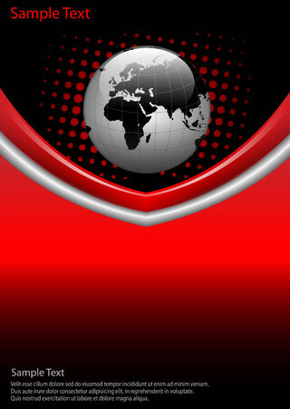 business  background red and black with world globe, Vector