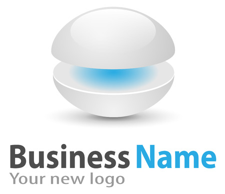 Logo 3d glossy sphere blue and white soft and stylish. Vector
