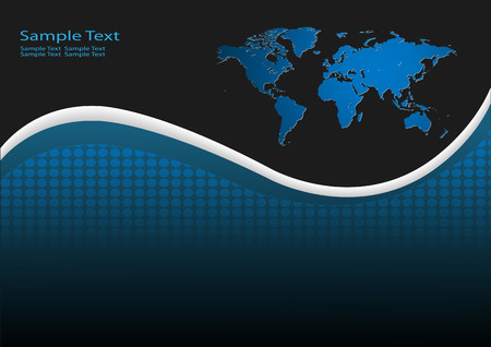 Business background with world map, black and blue Vector