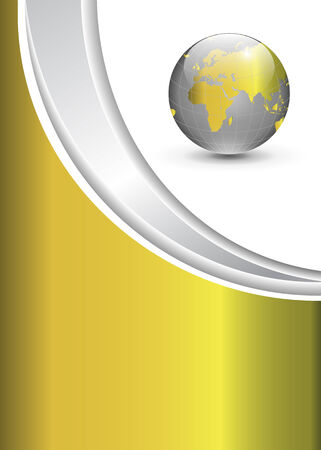 Business gold background with world globe