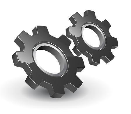 gears icon: logo 3D gears black glossy