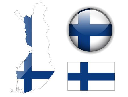 Финляндия: Finland flag, map and glossy button, illustration set.