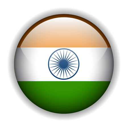 India, Indian flag glossy button Vector