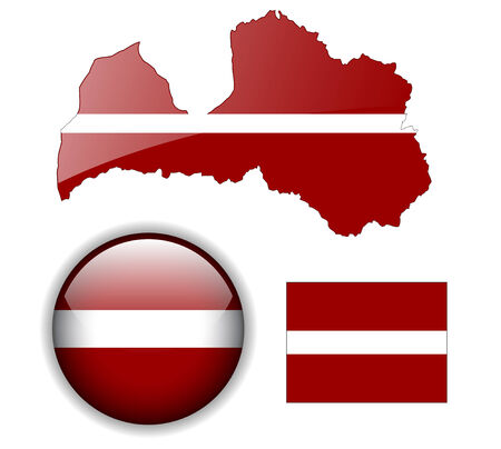 Latvia flag, map and glossy button Vector