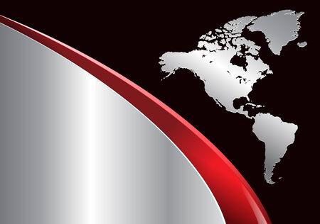 cadre noir et blanc: Business arri�re-plan avec la carte du monde, rouge et argent, illustration.
