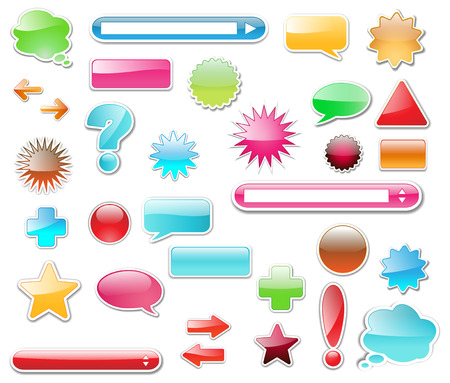 Web elements, buttons high glossy great collection Vector