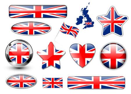 Gran colección de botones de Inglaterra, la bandera del Reino Unido Ilustración de vector