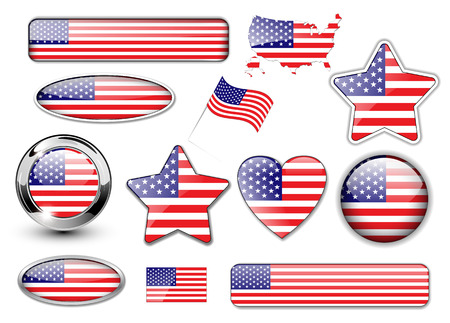 USA, North American flag buttons great collection Vector