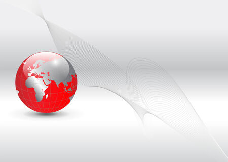 virtual technology: business background, silver with red world globe Illustration