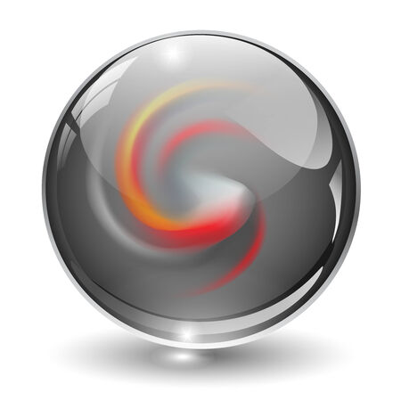 3D crystal, glass sphere with abstract shape inside Vector
