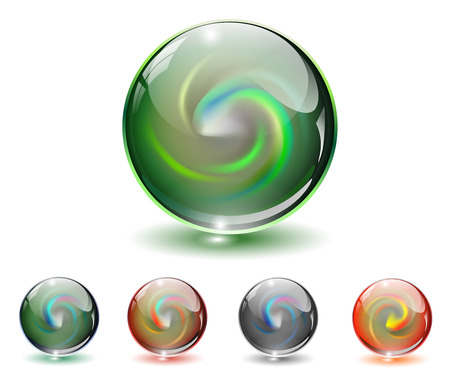 orbs: Crystal, glass sphere with abstract shape inside