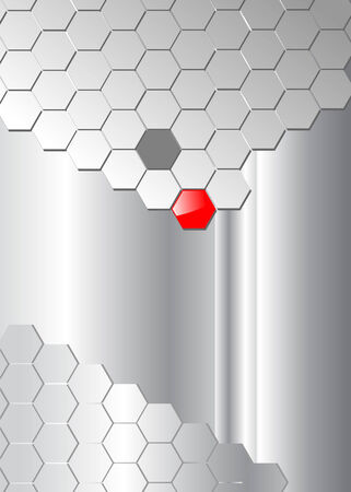 business background silver hexagons on silver background wiht red element. Vector