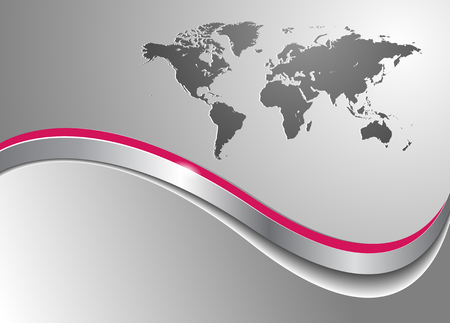 Business background with world map, silver metallic Vector