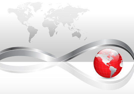 Business background with world map and red earth globe, silver metallic Ilustracja