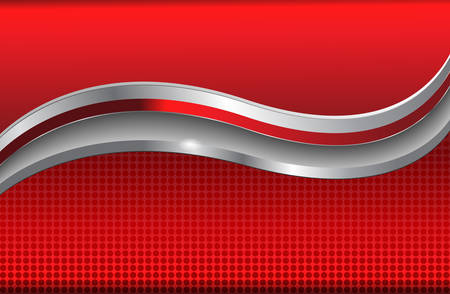 Abstract background red with silver metallic elements Vector