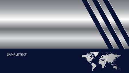 Entreprise élégant fond argent métallique avec une carte du monde  Vecteurs