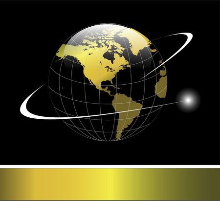 Elegant Logo mit gold Erdkugel mit Umlaufbahn über schwarzem Hintergrund