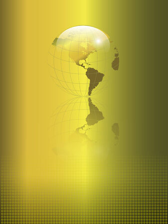 Abstract, business background gold with transparent earth globe Stock Vector - 6863932