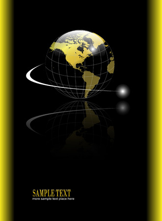 Abstract, business background with gold world globe over black background Vector