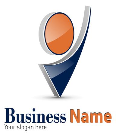 logotipo abstracto: Logotipo 3d forma abstracto din�mica, negro y naranja