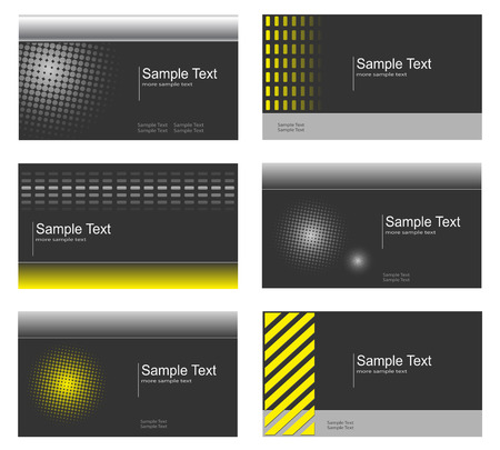 Business card collection, grey and yellow Vector