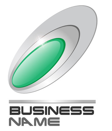 elipse: Gema de logotipo verde en plata de elipses  Vectores