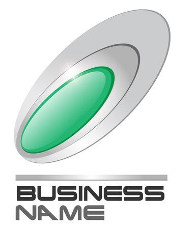 ellipse: Logo green gem in silver ellipses