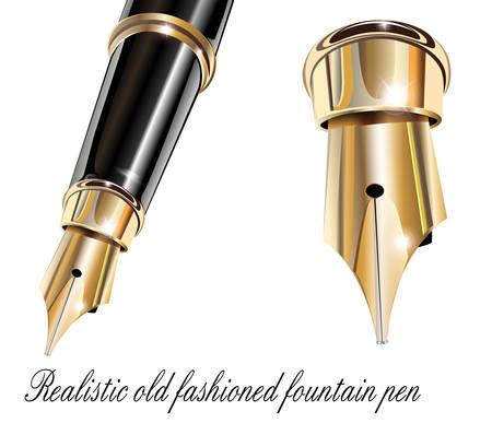 calligraphy pen: Pluma estilogr�fica oro y negro