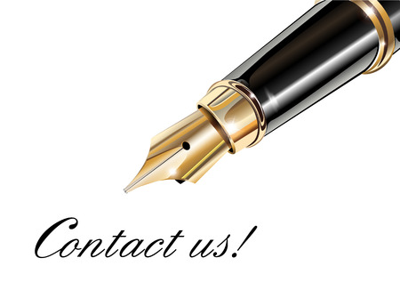 Contact us and fountain pen Vector