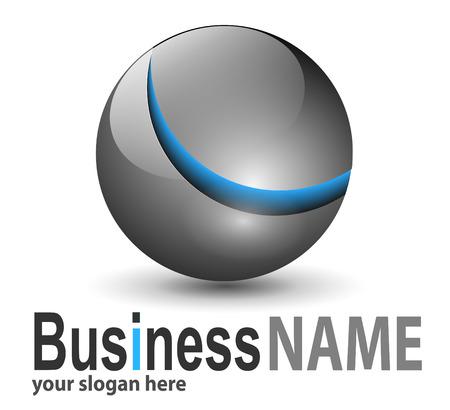 logotipo abstracto: Esfera met�lica brillante de logotipo con el elemento azul Vectores