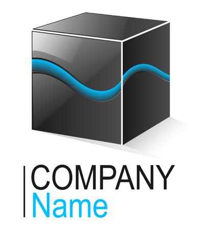 technology symbols metaphors: Logo glossy metallic cube with blue element Illustration