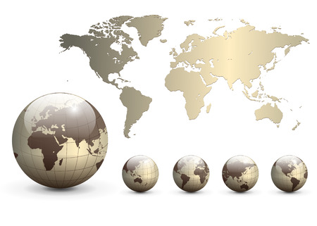 Earth globes and map of the world Stock Vector - 6864002