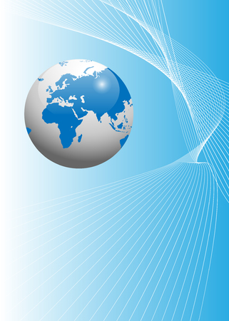 web design company: Abstract background light blue with earth globe Illustration