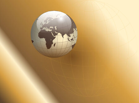 Abstract business background gold with earth globe Vector