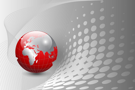 business background, silver with red world globe Vector