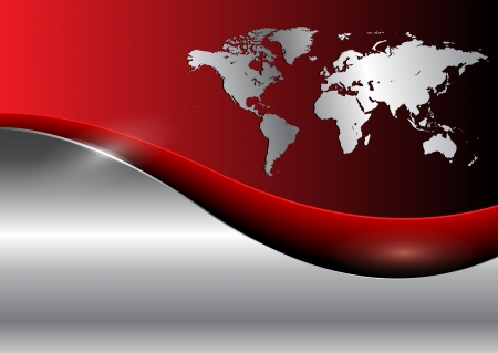 Business background with world map, red and silver Vector