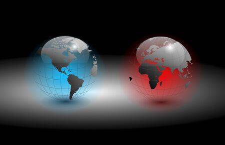 Globe of the world, transparent, colorful glowing, EPS10 Illustration