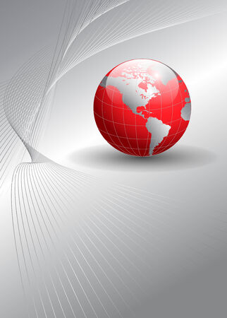 Abstract background silver with earth globe, illustration.