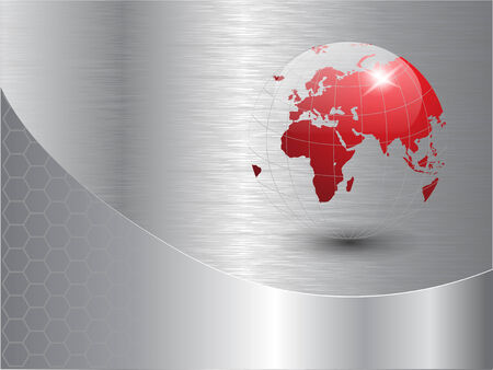 world globe background with polished metal texture.