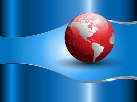 Abstract business background with world globe, blue and red.  Illustration