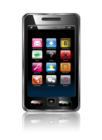 Mobile phone with icons, smart phone realistic illustration. Vector