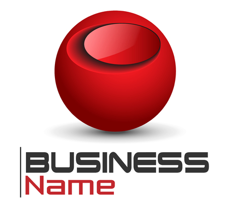 red sphere: Logo design, glossy red sphere glossy Illustration