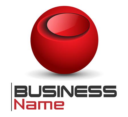 red sphere: Logo design, lucida sfera rossa lucida