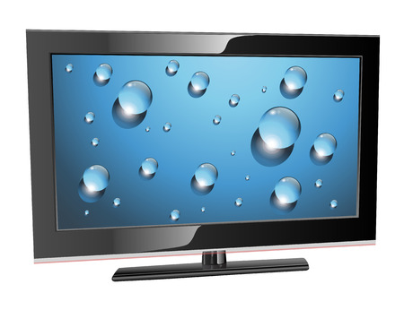 led: lcd plasma tv, water drops on screen, realistic illustration. Illustration