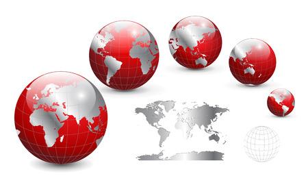 south east asia: Globo e mappa del mondo, dettagliata illustrazione