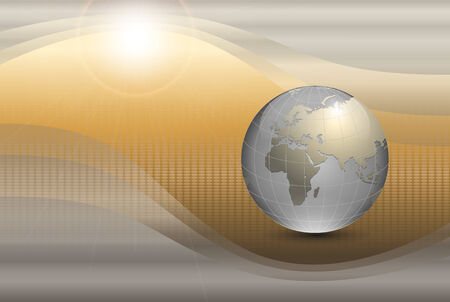virtual world: abstract  background with world globe and sun.