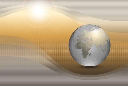 beige stof: abstracte achtergrond met wereld bol en zon. Stock Illustratie