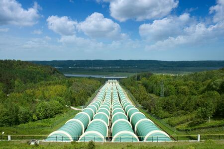 Gigantic water pipes of a power plant .