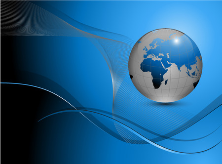 Abstract business background blue with earth globe. Vector