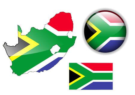 South Africa  flag, map and glossy button Vector